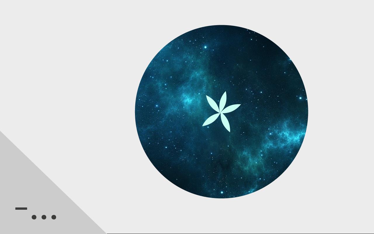 Ett stiliserat äpple genomskuret med kärnhuset som en stjärna, äpplet består också av stjärnhimmel