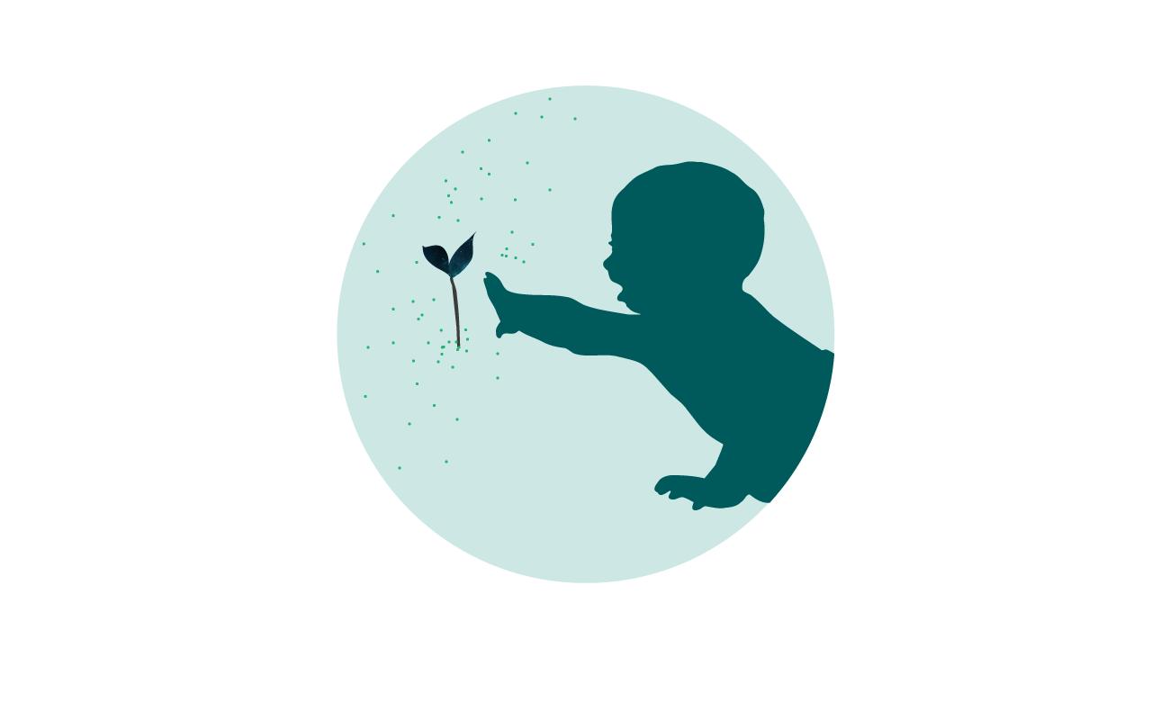Bebisikon som sträcker sig efter en växt