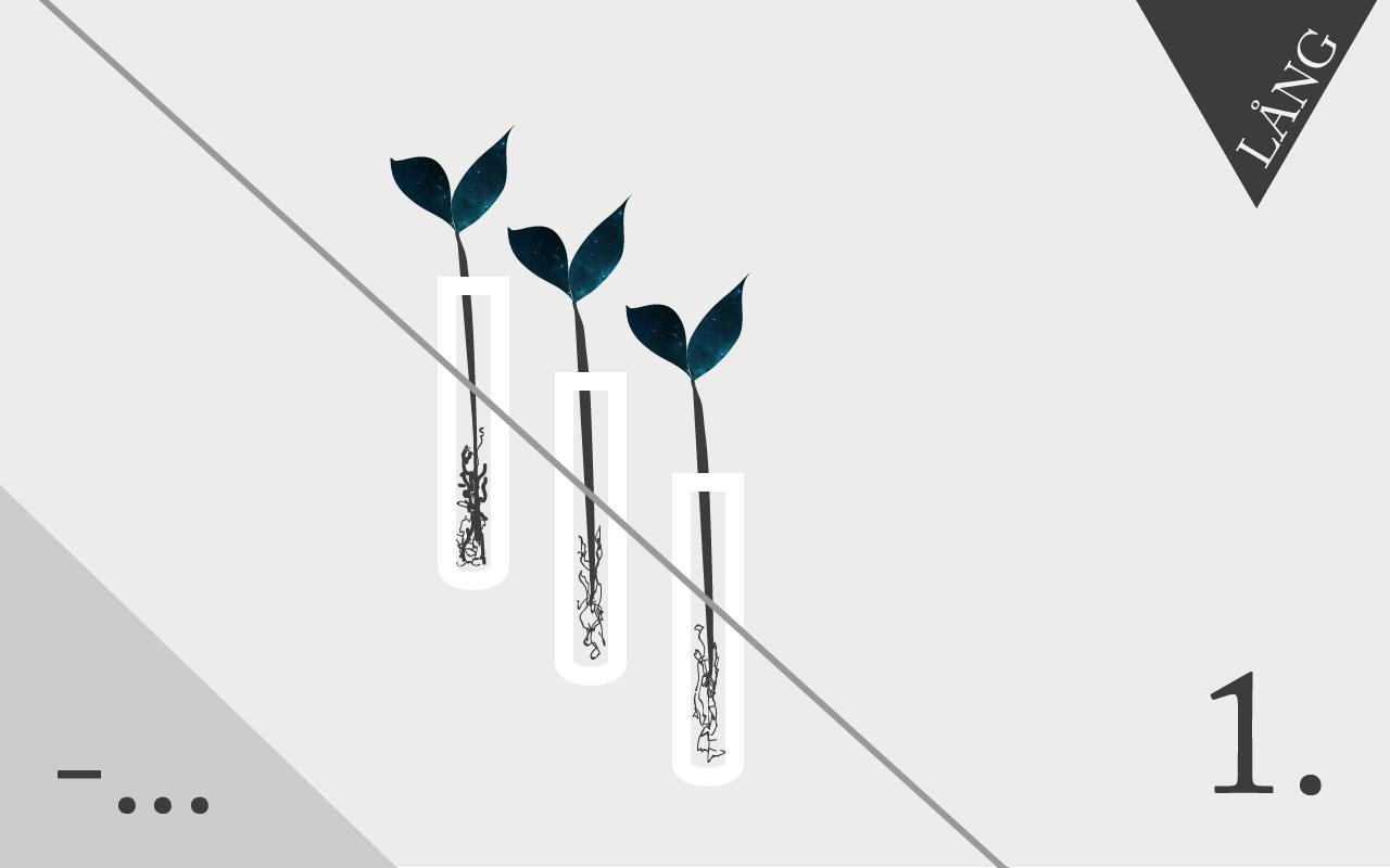 Växter i provrör på rad samt markering om att texten är lång